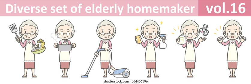 Diverse set of elderly homemaker, EPS10 vol.16 (Old woman who wears glasses)