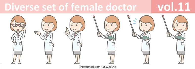 Diverse set of female doctor , EPS10 vector format vol.11 (Illustrations of various poses of a young female doctor wearing a white coat and skirt)