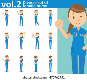 Diverse set of female nurse on white background , vector format vol.2
