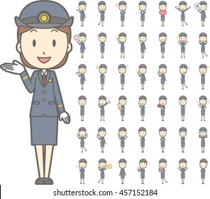 Diverse set of Female train conductor on white background , EPS10 vector format vol.1