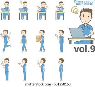 Diverse set of male nurse , EPS10 vector format vol.9