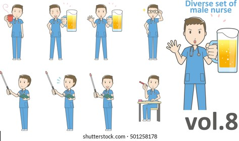 Diverse set of male nurse , EPS10 vector format vol.8