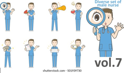 Diverse set of male nurse , EPS10 vector format vol.7