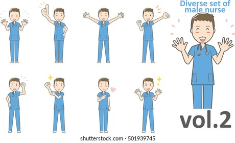 Diverse set of male nurse , EPS10 vector format vol.2