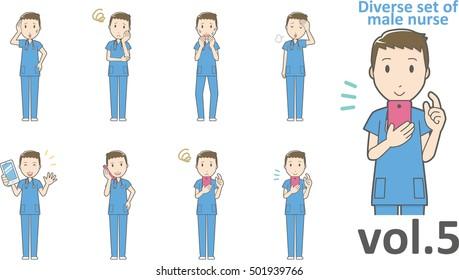 Diverse set of male nurse , EPS10 vector format vol.5