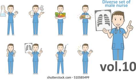 Diverse set of male nurse , EPS10 vector format vol.10