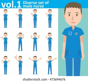 Diverse set of male nurse on white background , EPS10 vector format vol.1
