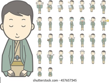 Diverse set of Man wearing a Japanese kimono on white background , vector format vol.2