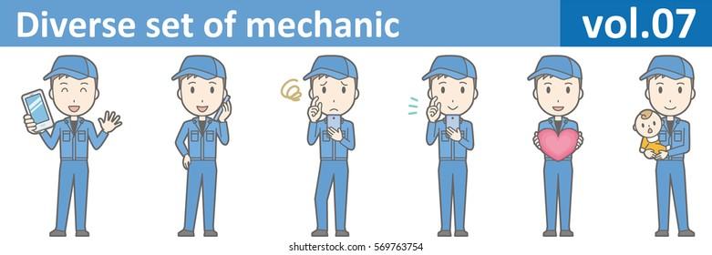 Diverse set of mechanic, EPS10 vol.07 (Young mechanic in blue uniform)