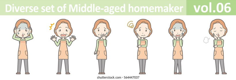 Diverse set of middle-aged homemaker, EPS10 vol.06 (Redhead middle-aged housewife wearing an orange apron)