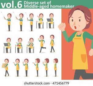 Diverse set of middle-aged homemaker wearing an apron on white background , EPS10 vector format vol.6