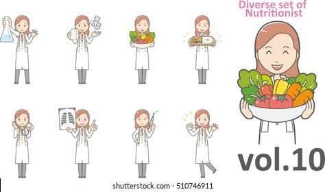 Diverse set of nutritionist, EPS10 vector format vol.10