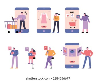 A diverse set of people who do mobile shopping. flat design vector graphic style illustration.