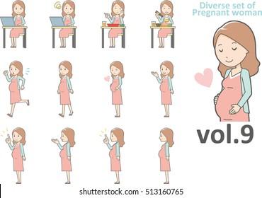 Diverse set of pregnant women , EPS10 vector format vol.9