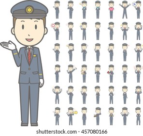 Diverse set of train conductor on white background , EPS10 vector format vol.1