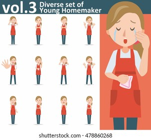 Diverse set of yong homemaker on white background , EPS10 vector format vol.3