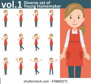 Diverse set of yong homemaker on white background , EPS10 vector format vol.1