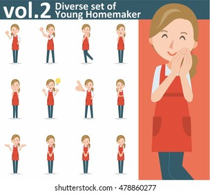 Diverse set of yong homemaker on white background , EPS10 vector format vol.2