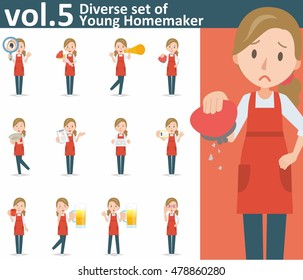 Diverse set of yong homemaker on white background , EPS10 vector format vol.5