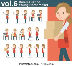 Diverse set of yong homemaker on white background , EPS10 vector format