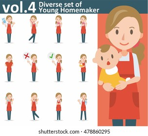 Diverse set of yong homemaker on white background , EPS10 vector format vol.4