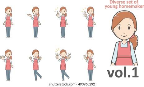 Diverse set of young homemaker , EPS10 vector format vol.1