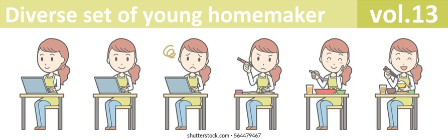 Diverse set of young homemaker, EPS10 vector format vol.13 (A young housewife wearing a green apron and jeans)