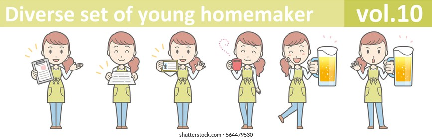Diverse set of young homemaker, EPS10 vector format vol.10 (A young housewife wearing a green apron and jeans)