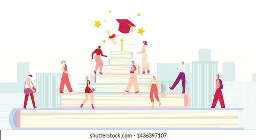 Diverse Students Group Walking Education Stairs. Metaphor Success Studding Poster. Achievement, Personal Advancement, Growth. Stars, Credential and Graduate Cap on Ladder Top. Vector Flat illustration