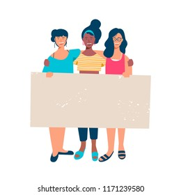 Diverse woman group holding blank banner for special event text. Happy young girl friends with empty sign template at womens rights protest, charity benefit or student parade. EPS10 vector.