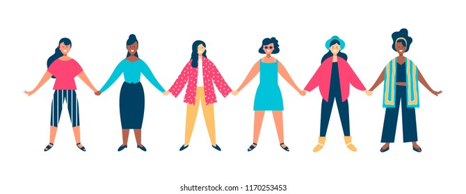 Diverse woman group holding hands for special event. Happy young girl friends at womens rights protest, charity benefit or student parade on isolated white background. EPS10 vector.