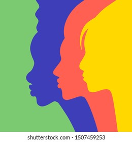 Diverse woman group standing together. Profile silhouettes of girl's faces at womens rights protest, charity benefit or student parade as a card, poster or product package. EPS10 vector.