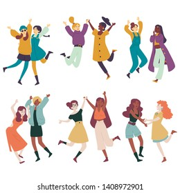 Diverse women having fun together, multi ethnic females jumping, dancing.