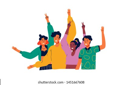 Diverse young people group on isolated white background. Welcome teen scene concept. Happy teenagers smiling and waving hello with hands.