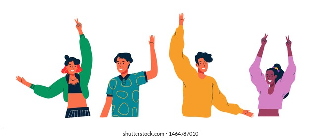 Diverse young people group waving hello and raised arms on isolated white background. Colorful millennial youth team for celebration or social concept.