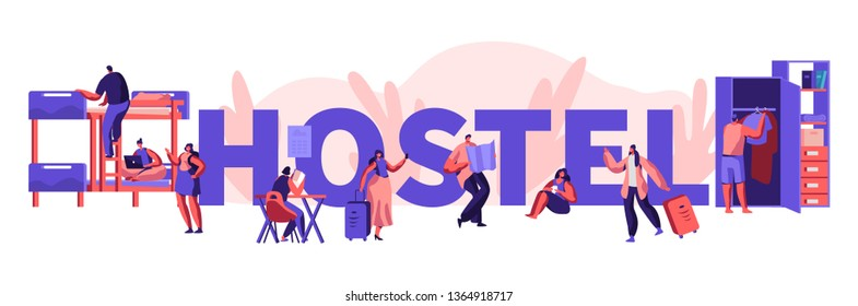 Diverse Young People Living in Hostel. Male and Female Tourist Characters Move into Motel for Staying at Night, Cheap Accommodation for Students or Travelers. Cartoon Flat Vector Illustration, Poster