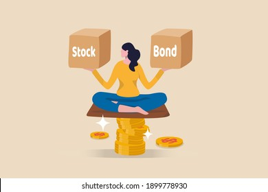 Diversify portfolio investment, rebalance between stocks and bonds, passive invest wealth accumulate concept, intelligent woman keep calm sitting on stack of money coins balancing stock and bond boxes