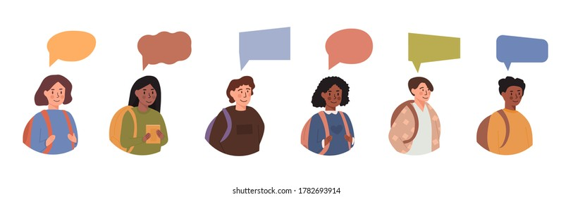 Diversity of children - avatar userpic portraits of schoolboys and schoolgirls of different ethnicities with colorful bubble message. Teenagers with speech balloon of different shapes. Vector.