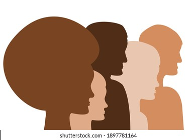 Diversity concept. People head silhouette, male and female diverse people standing together
