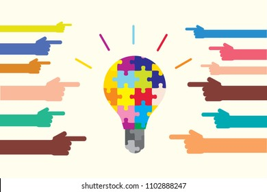 Diversity and creativity shown by puzzle bulb
