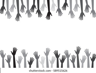 Diversity gray hands reach to the empty center. Vector background for text, copy space. Grayscale, black, white.