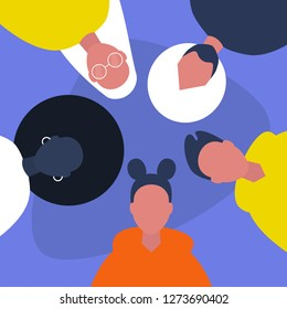 Diversity. A group of friends. Millennials. Students. Hanging out together. Flat editable vector illustration, clip art
