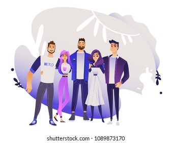 Diversity group of people hugs - young men and women stand together smiling and embracing one another. Isolated cartoon vector illustration of friendship and togetherness concept.