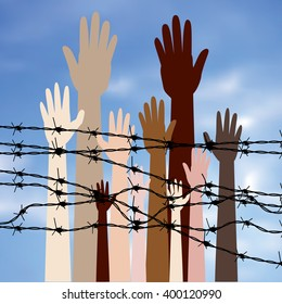Diversity hand silhouettes behind barbed wire against blurry sky background.