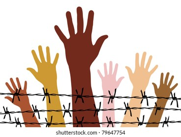 Diversity hands behind a barbed wire.