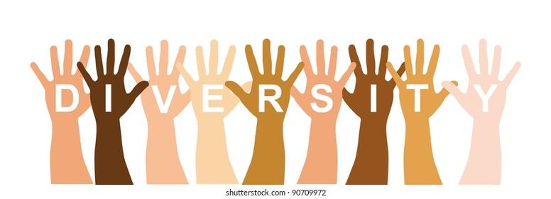 diversity hands over white background. vector illustration
