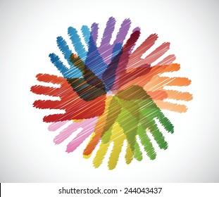 diversity hands scribble illustration design over a white background