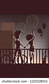 Diversity - Happy Holidays - New Families - Women Celebrating in a Balcony on a Fireworks Background