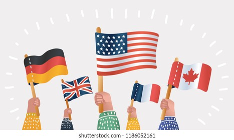 Diversity of human hands holding and waving national flags of different countries