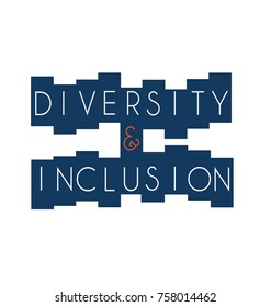 Diversity and Inclusion in white on navy and white background